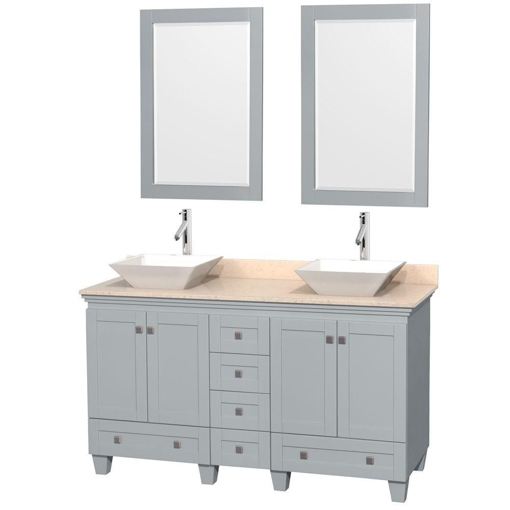 Acclaim 60-inch W Double Vanity in Oyster Grey with Marble Top, Porcelain Sinks and Mirror