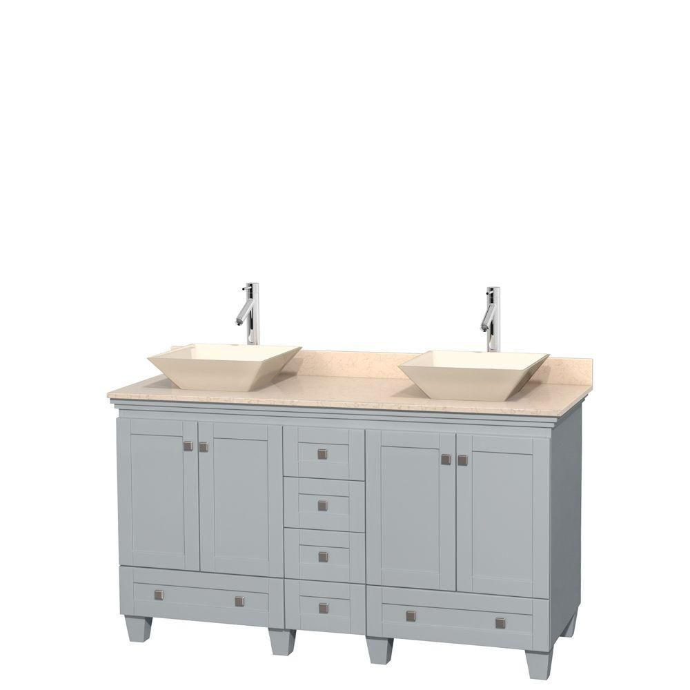Acclaim 60-inch W Double Vanity in Oyster Grey with Marble Top and Bone Porcelain Sinks