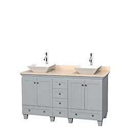 Wyndham Collection Acclaim 60-inch W 6-Drawer 4-Door Vanity in Grey With Marble Top in Beige Tan, Double Basins