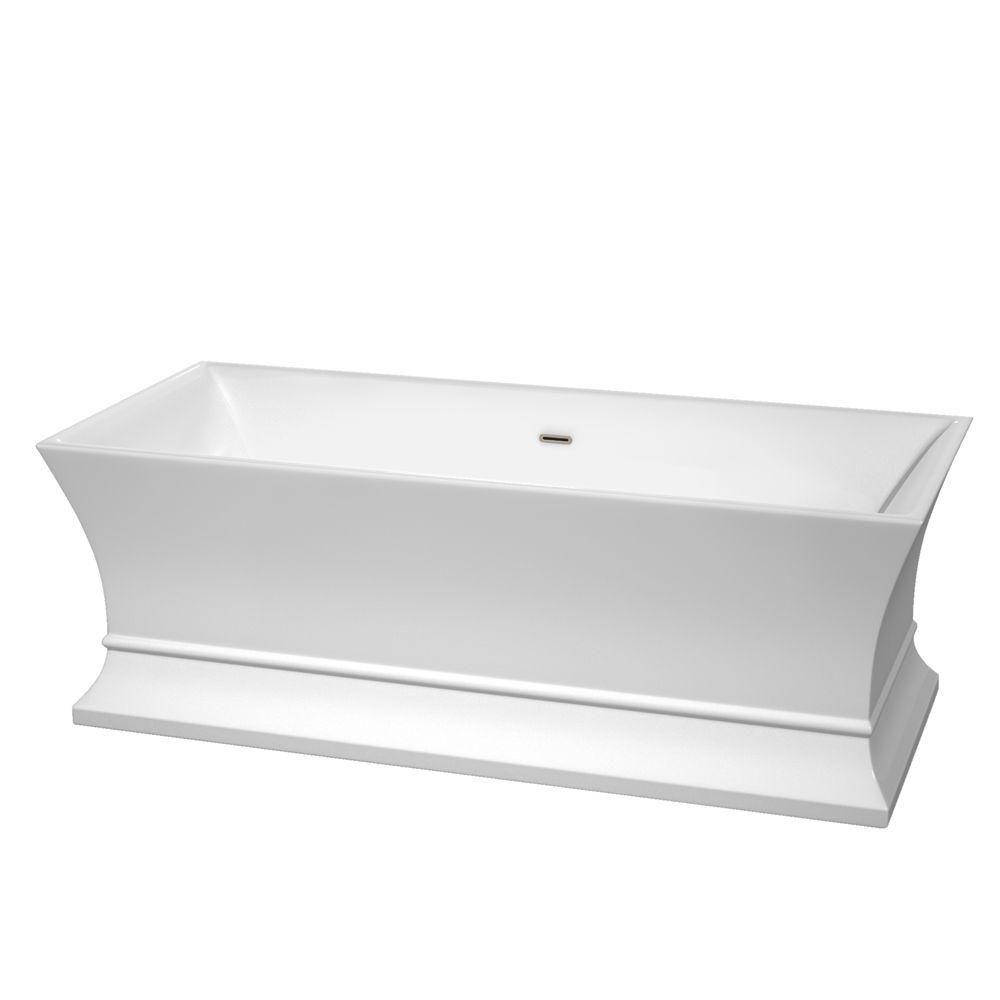 Jamie 5 Feet 6-Inch Freestanding Bathtub with Brushed Nickel Drain and Overflow Trim