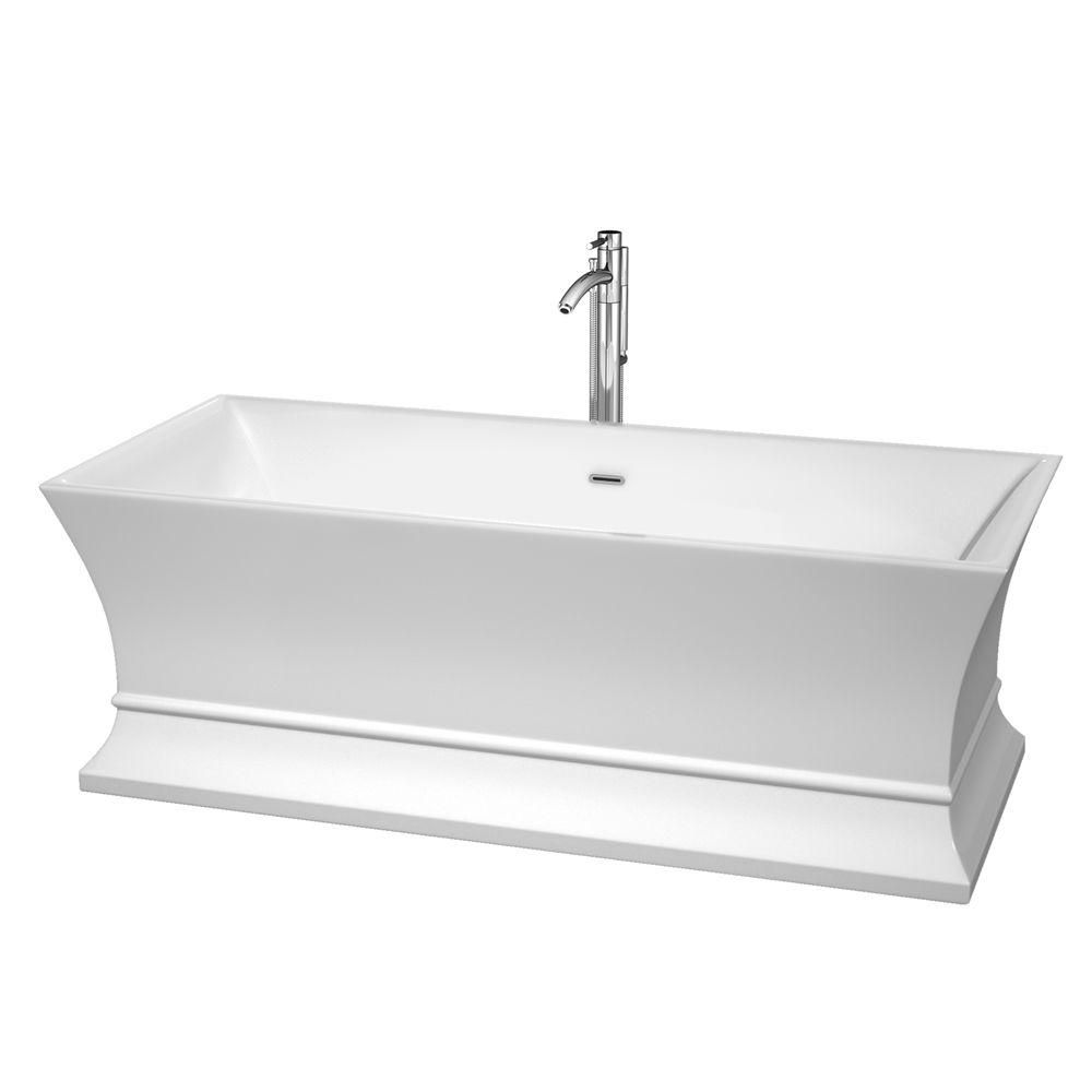 Jamie 5 Feet 6-Inch Bathtub with Tub Filler, Drain and Overflow Trim in Polished Chrome