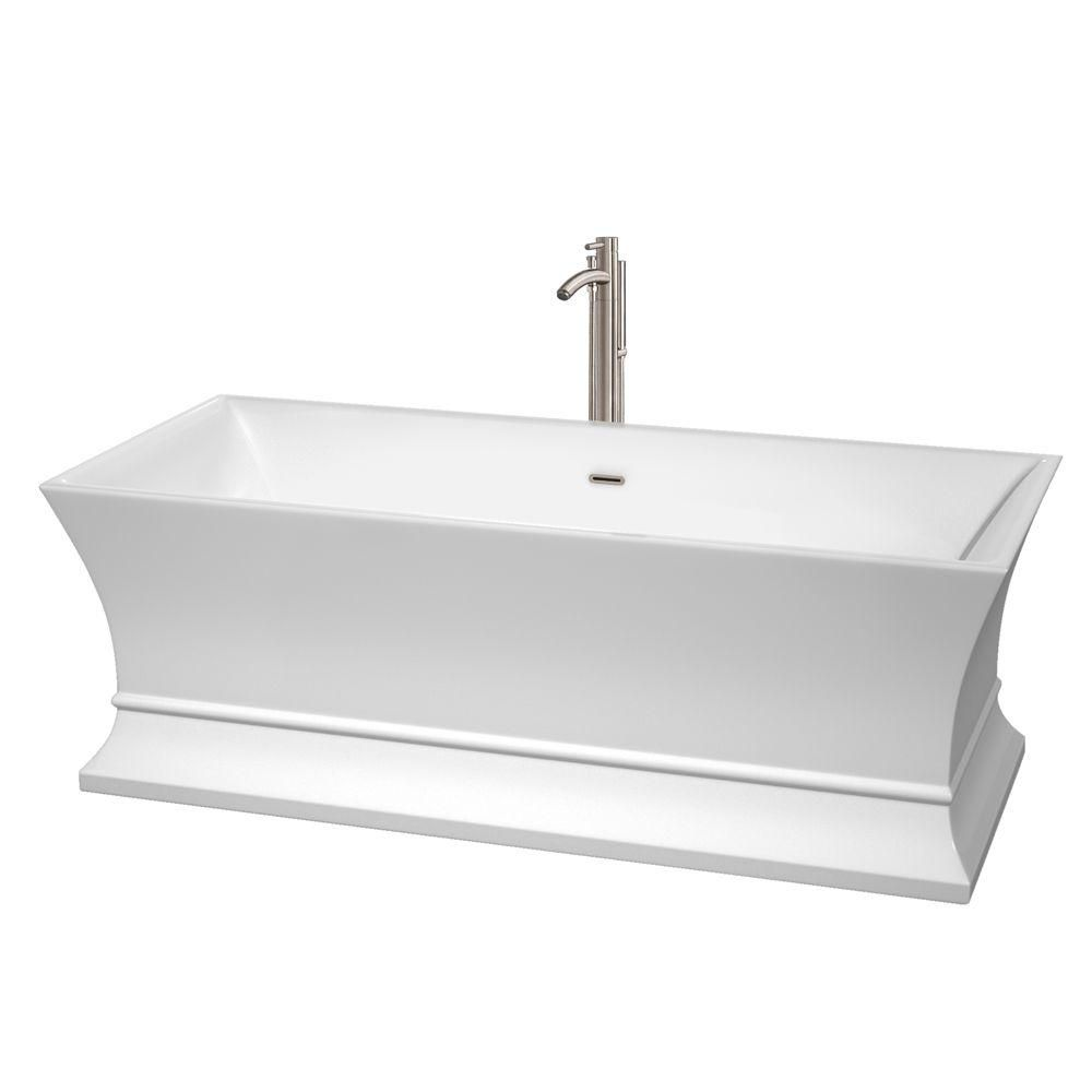 Jamie 5 Feet 6-Inch Bathtub with Tub Filler, Drain and Overflow Trim in Brushed Nickel
