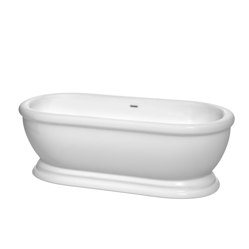 Mary 5.6 Feet Freestanding Bathtub with Polished Chrome Drain and Overflow Trim