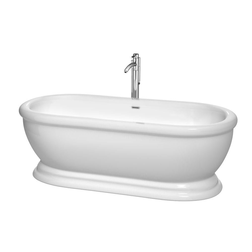 Mary 5 Feet 7-Inch Freestanding Bathtub with Tub Filler, Drain and Overflow Trim in Polished Chro...