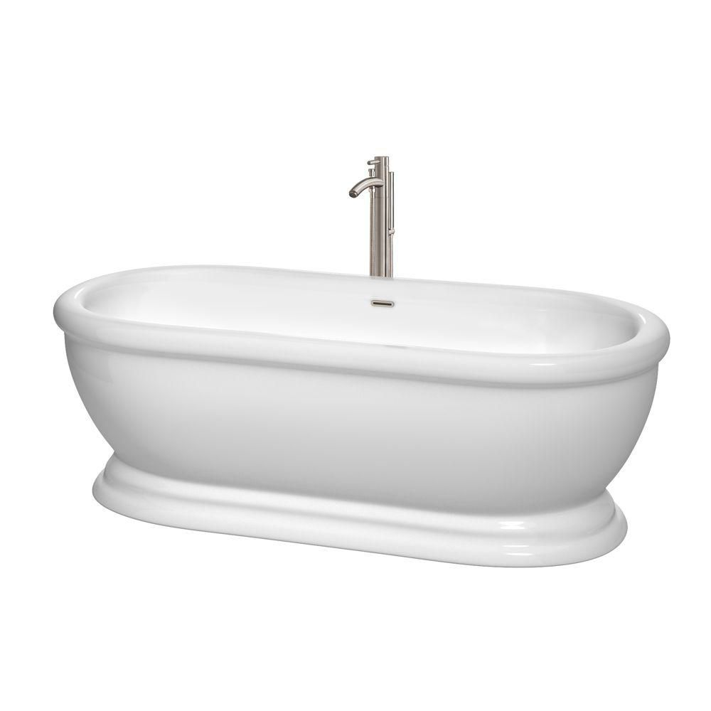Mary 5.6 Feet Freestanding Bathtub with Tub Filler, Drain and Overflow Trim in Brushed Nickel
