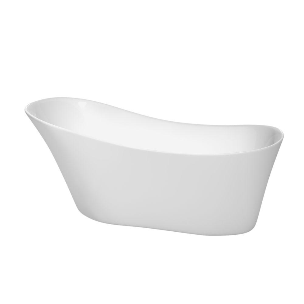Janice 5 Feet 6-Inch Bathtub with Polished Chrome Drain and Overflow Trim