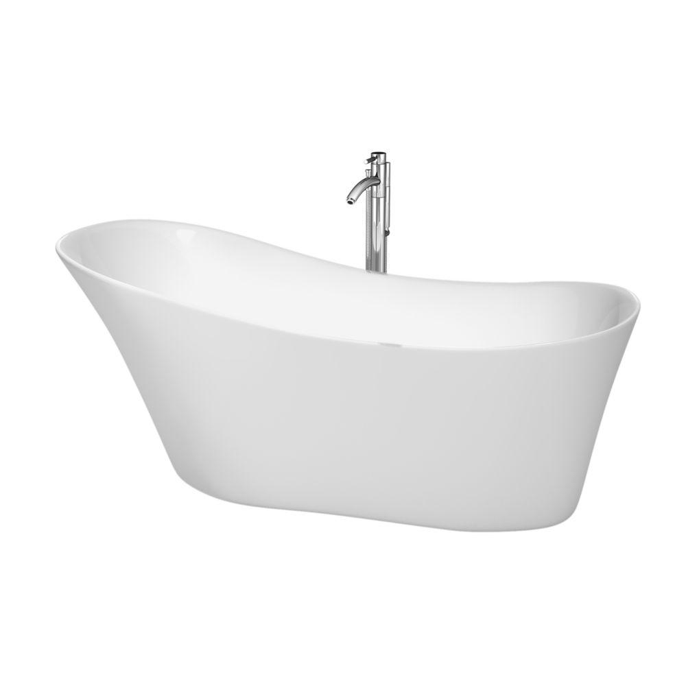 """Baignoire autoportante Janice 67"""" blanche, robinet, drain et trop-plein avec finition en chrome p..."""