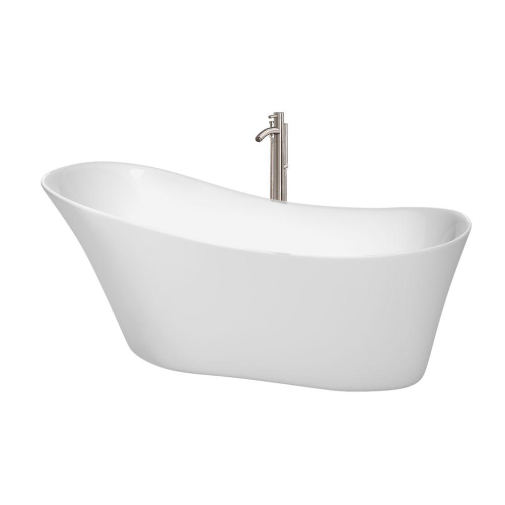 """Baignoire autoportante Janice 67"""" blanche, robinet, drain et trop-plein en finition nickel brossé"""