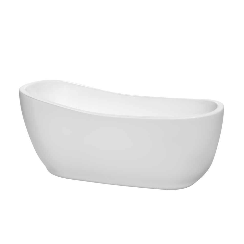 Margaret 5 Feet 6-Inch Freestanding Bathtub with Brushed Nickel Drain and Overflow Trim
