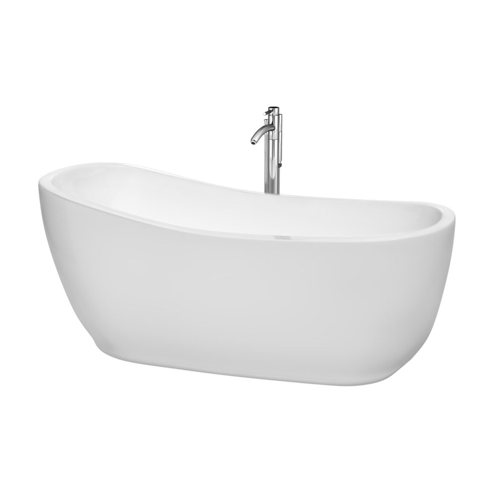 Margaret 5 Feet 6-Inch Freestanding Bathtub with Tub Filler, Drain and Overflow Trim in Polished ...