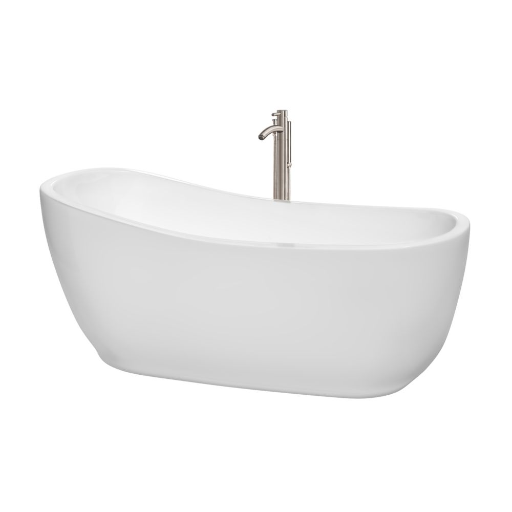 Margaret 5 Feet 6-Inch Freestanding Bathtub with Tub Filler, Drain and Overflow Trim in Brushed N...