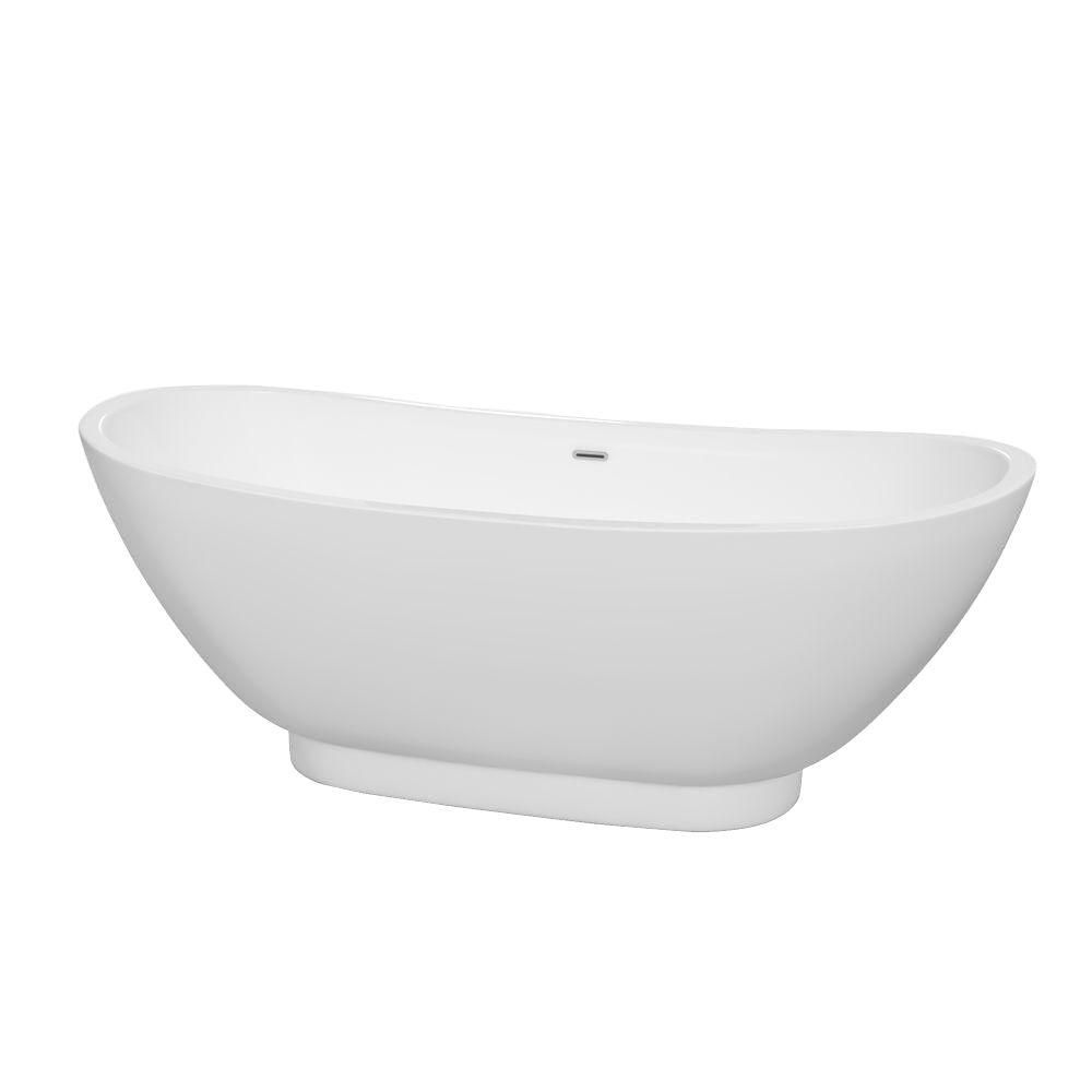 Clara 5 Feet Freestanding Bathtub with Polished Chrome Drain and Overflow Trim in White