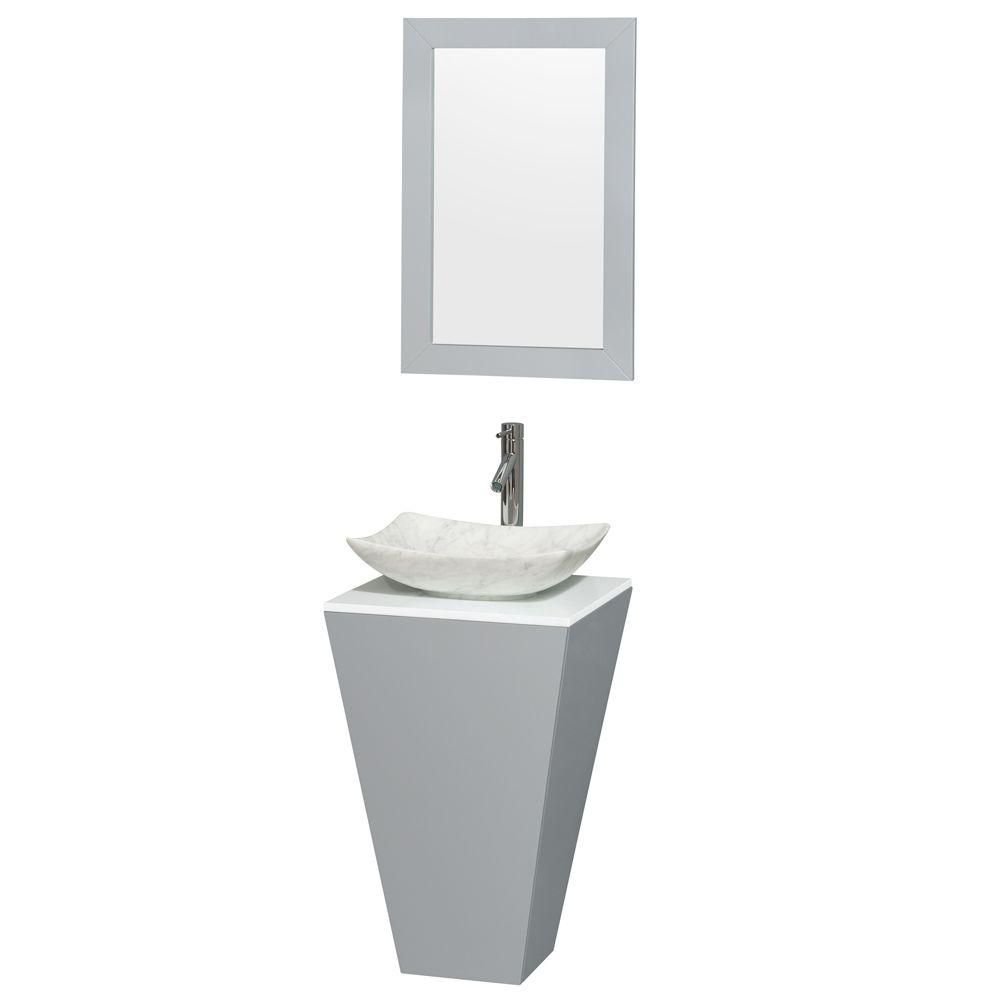 Esprit 20-inch W Vanity in Grey with Stone Top in White with Carrara Basin and 20-inch Mirror