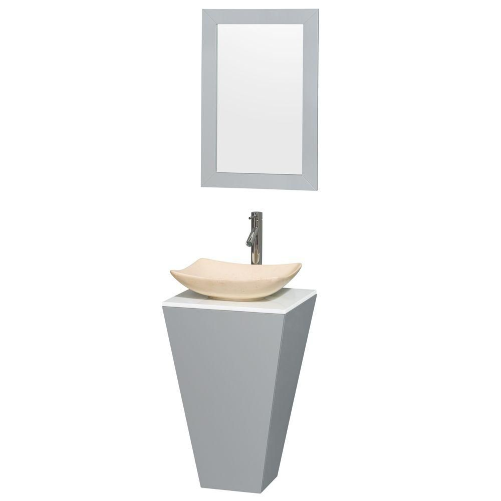 Esprit 20-inch W Vanity in Grey with Stone Top in White with Ivory Basin and 20-inch Mirror