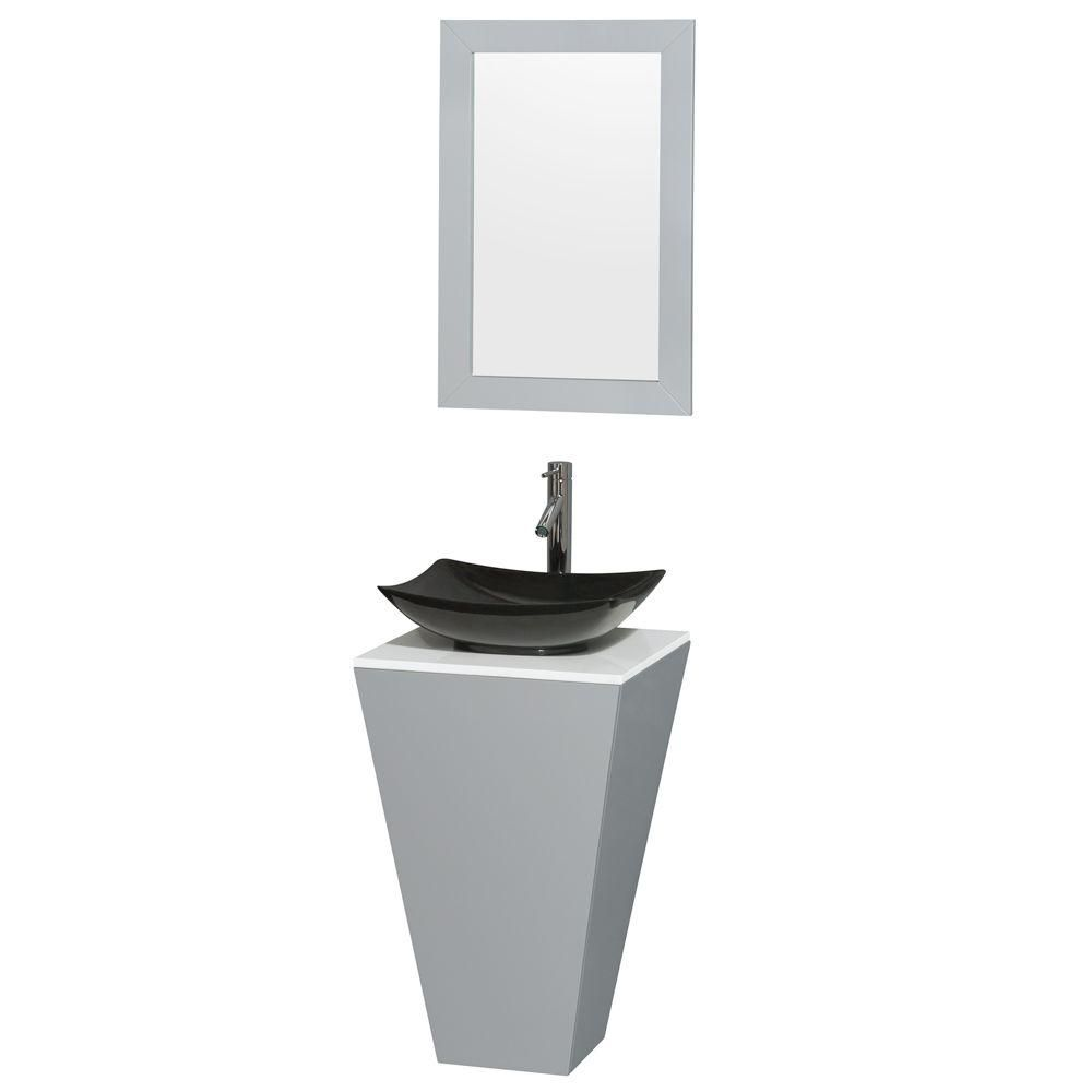 Esprit 20-inch W Vanity in Grey with Stone Top in White with Black Basin and 20-inch Mirror