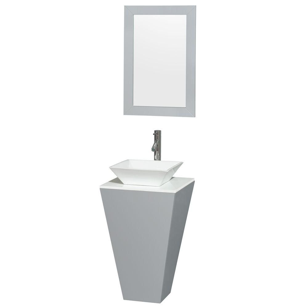 Esprit 20-inch W Vanity in Grey with Stone Top in White with White Basin and 20-inch Mirror