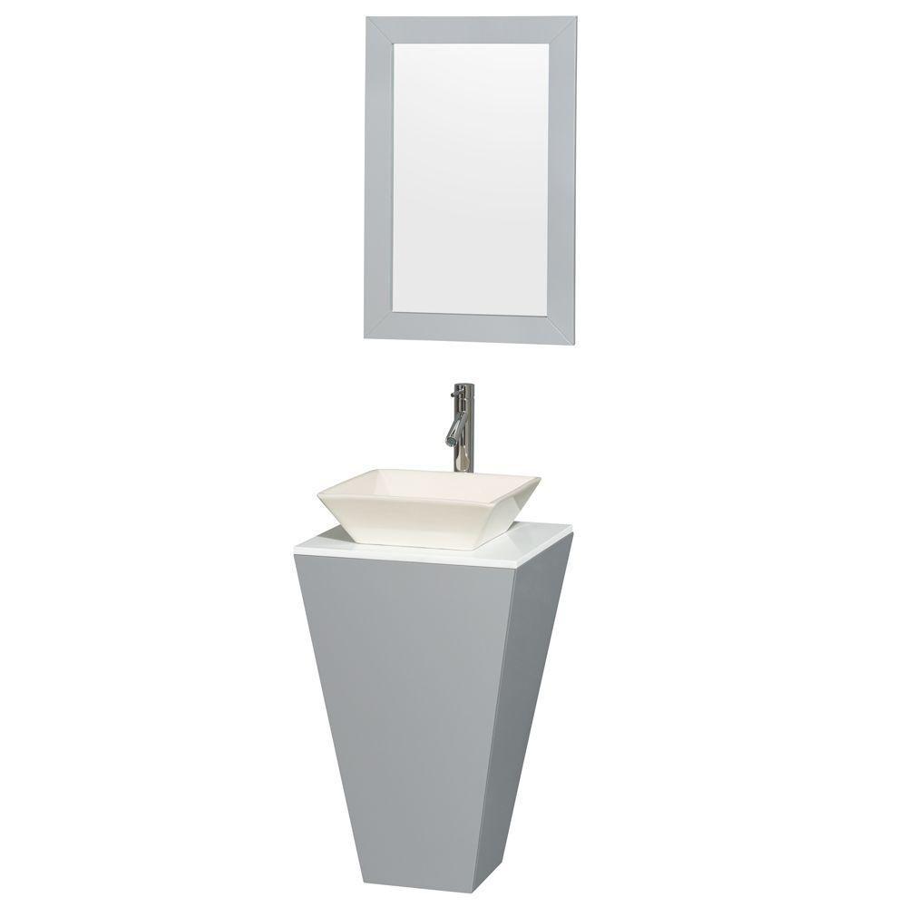 """Meuble Esprit 20"""" gris piédestal, comptoir solide blanc, évier porcelain Pyra couleur os, miroir ..."""