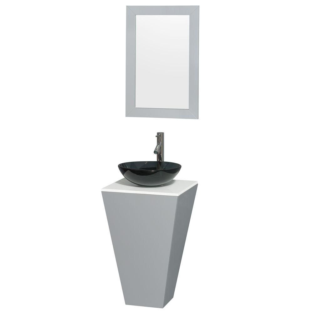 Esprit 20-inch W Vanity in Grey with Stone Top in White with Glass Basin and 20-inch Mirror