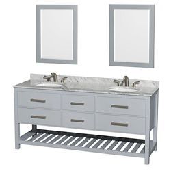 Wyndham Collection Natalie 72-inch W 4-Drawer Vanity in Grey With Marble Top in White, Double Basins With Mirror