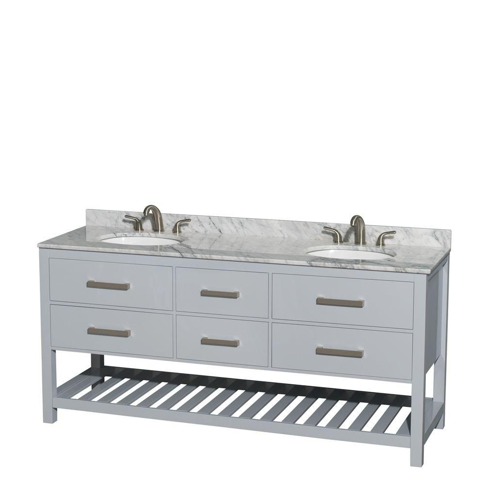 Natalie 72-inch W Double Vanity in Grey with Marble Top in Carrara White and Oval Sinks