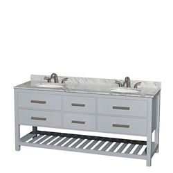Wyndham Collection Natalie 72-inch W 4-Drawer Freestanding Vanity in Grey With Marble Top in White, Double Basins