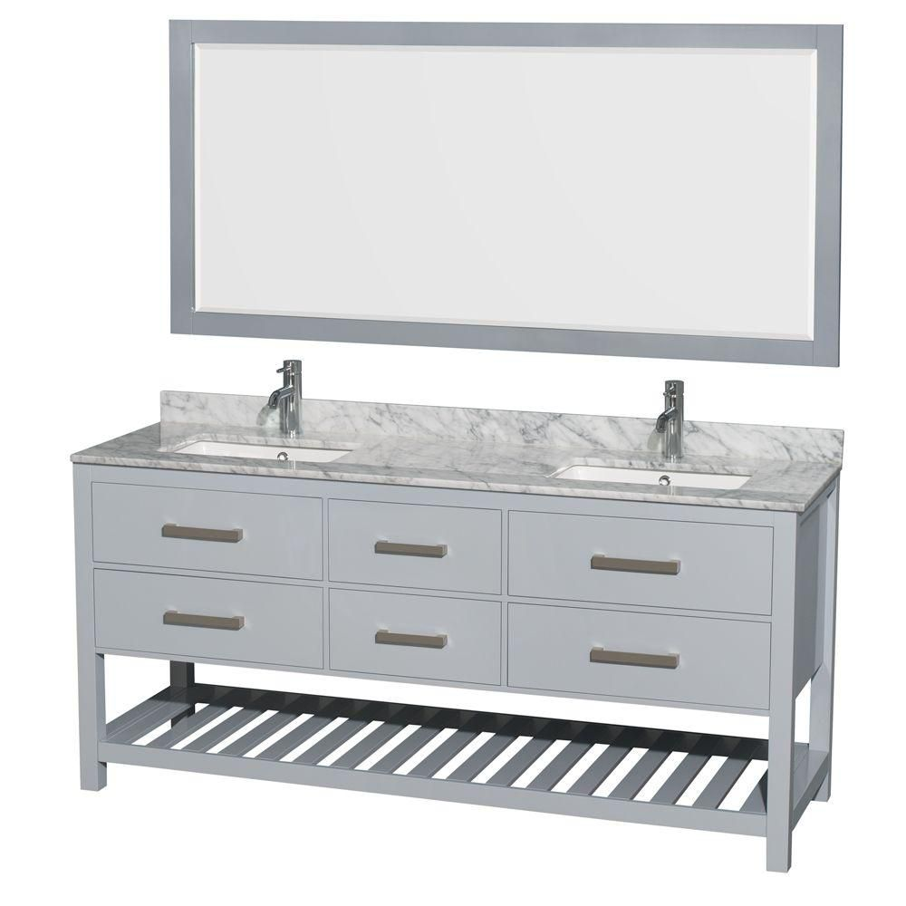 """Meuble s. bains dbl Natalie 72"""" gris, comptoir marbre Carrera blanc, éviers carrés, miroir 70"""""""