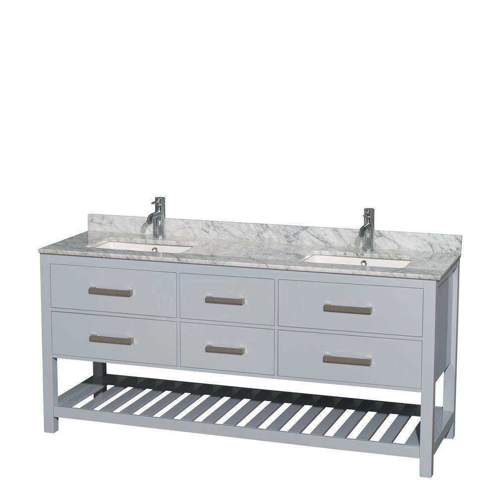"""Meuble s. bains dbl Natalie 72"""" gris, comptoir marbre Carrera blanc, éviers carrés, pas miroir"""