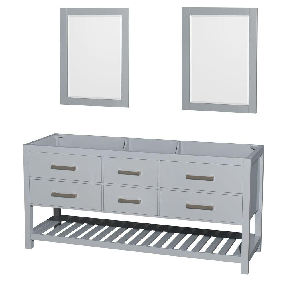 Wyndham Collection Natalie 72-Inch  Double Vanity Cabinet with Mirrors in Grey