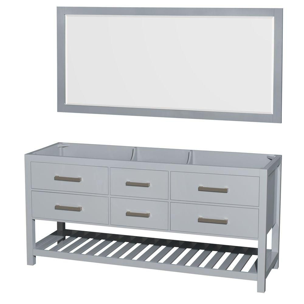Natalie 72-Inch  Double Vanity Cabinet with Mirror in Grey