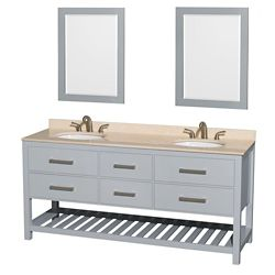 Wyndham Collection Natalie 72-inch W 4-Drawer Vanity in Grey With Marble Top in Beige Tan, Double Basins With Mirror