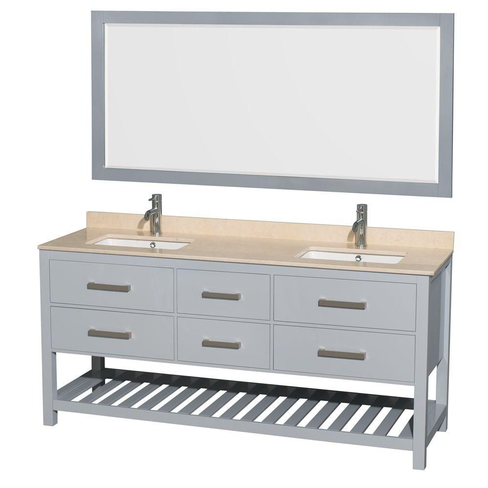 Natalie 72-inch W Double Vanity in Grey with Marble Top in Ivory with Square Basins and Mirror
