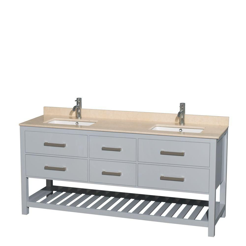 Natalie 72-inch W Double Vanity in Grey with Marble Top in Ivory and Square Sinks