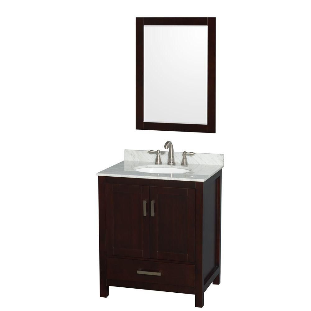 "Meuble s. bains simple Sheffield 30"" espresso, comptoir marbre Carrera, évier ovale, miroir 24"""