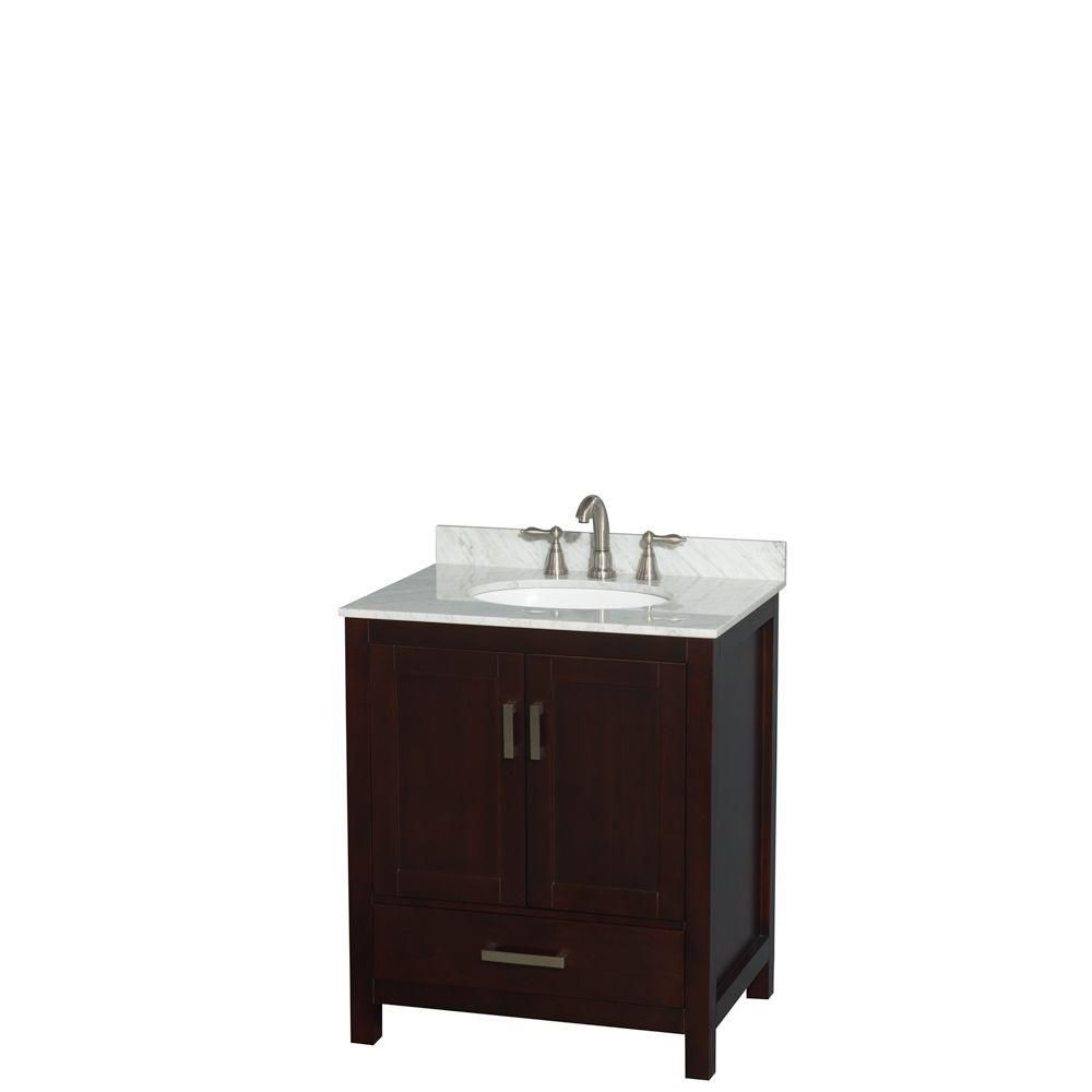 Sheffield 30-inch W Vanity in Espresso with Marble Top in Carrara and Oval Sink