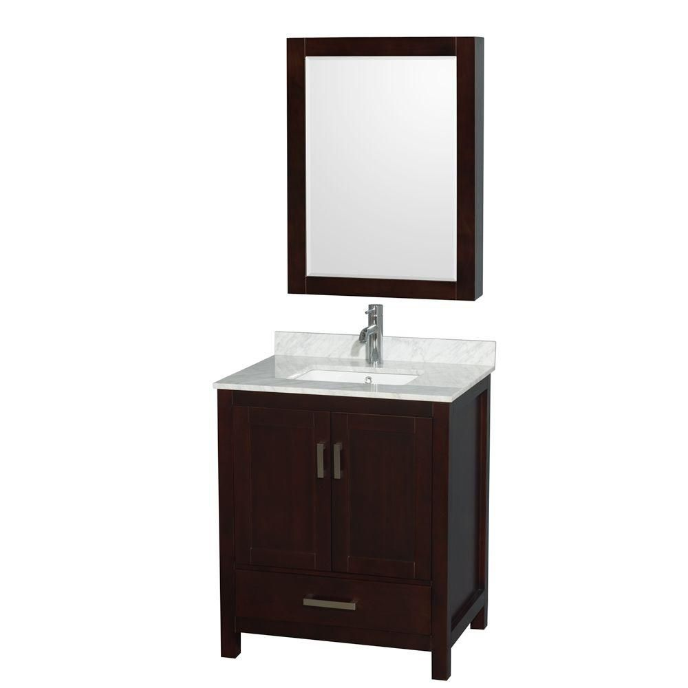 Sheffield 30-inch W Vanity in Espresso with Marble Top, Square Sink and Medicine Cabinet