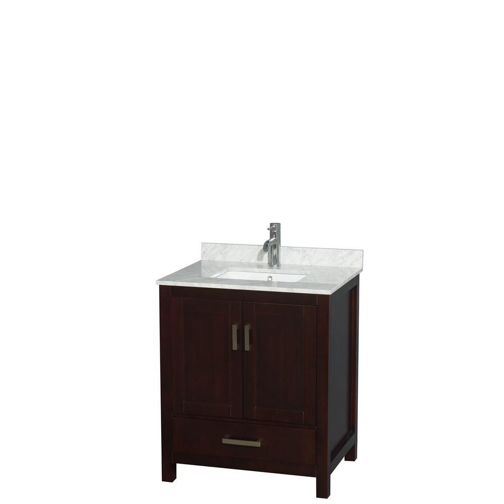 Wyndham Collection Sheffield 30-inch W 1-Drawer 2-Door Freestanding Vanity in Brown With Marble Top in White