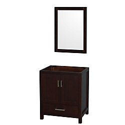 Wyndham Collection Sheffield 30-inch  Vanity Cabinet with Mirror in Espresso