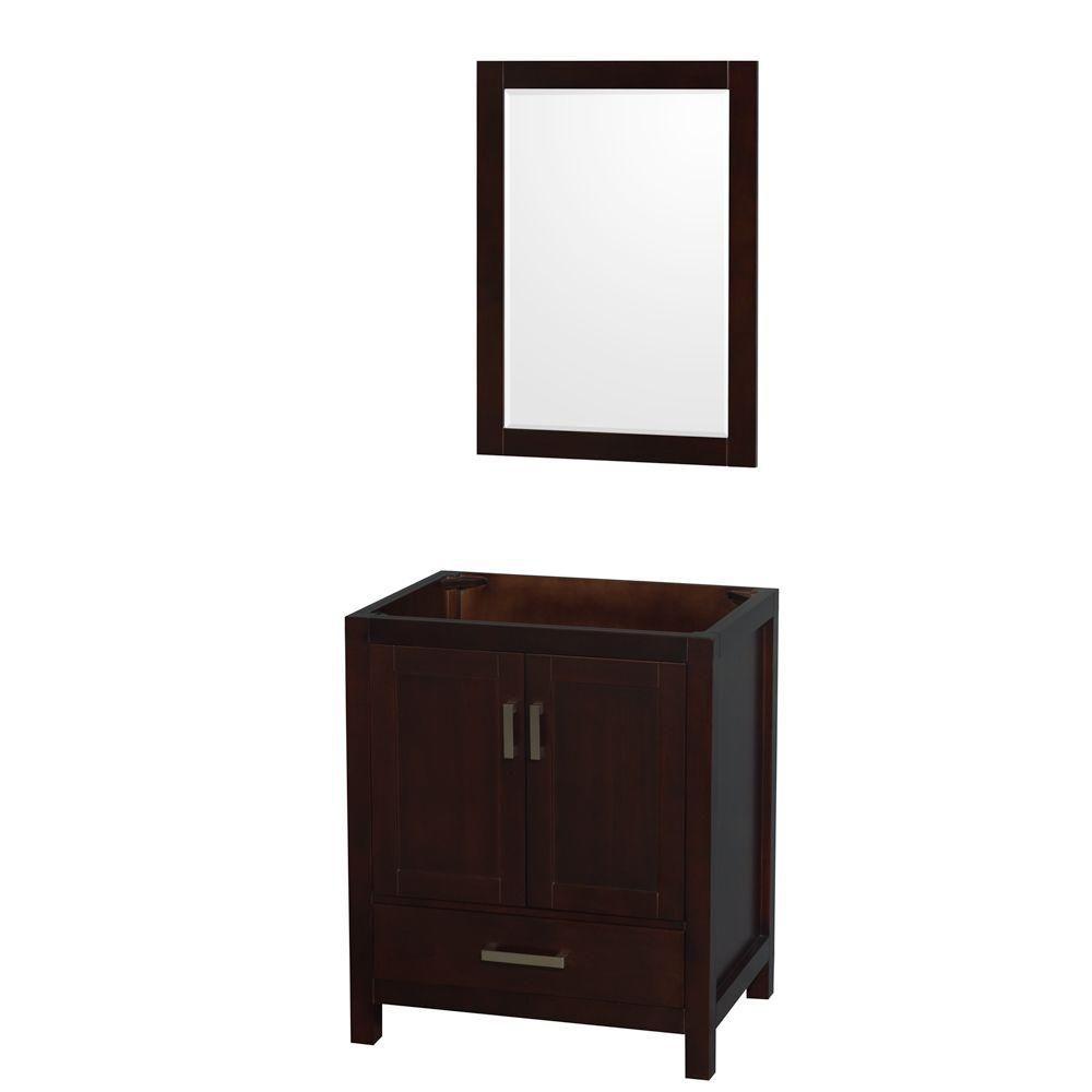Wyndham Collection Sheffield 30-Inch  Vanity Cabinet with Mirror in Espresso