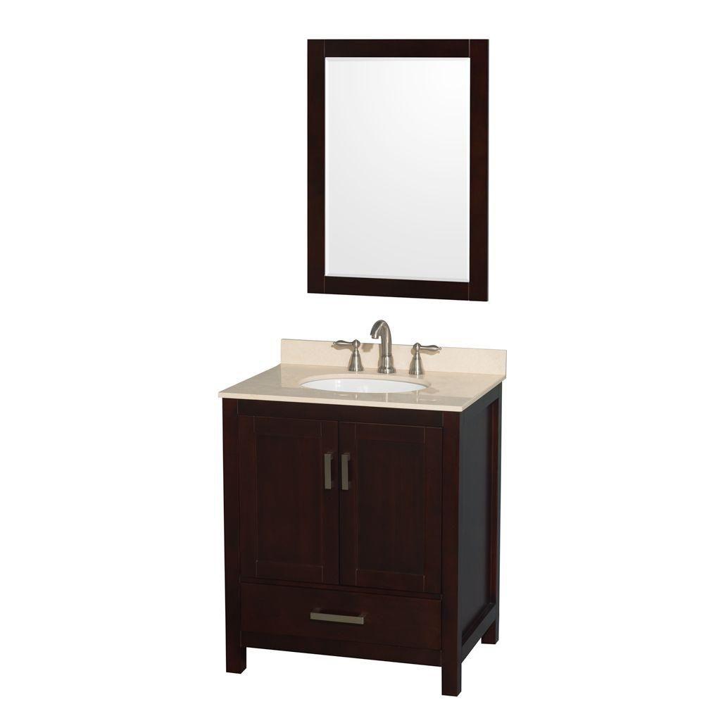 """Meuble s. bains simple Sheffield 30"""" espresso, comptoir marbre ivoire, évier ovale, miroir 24"""""""