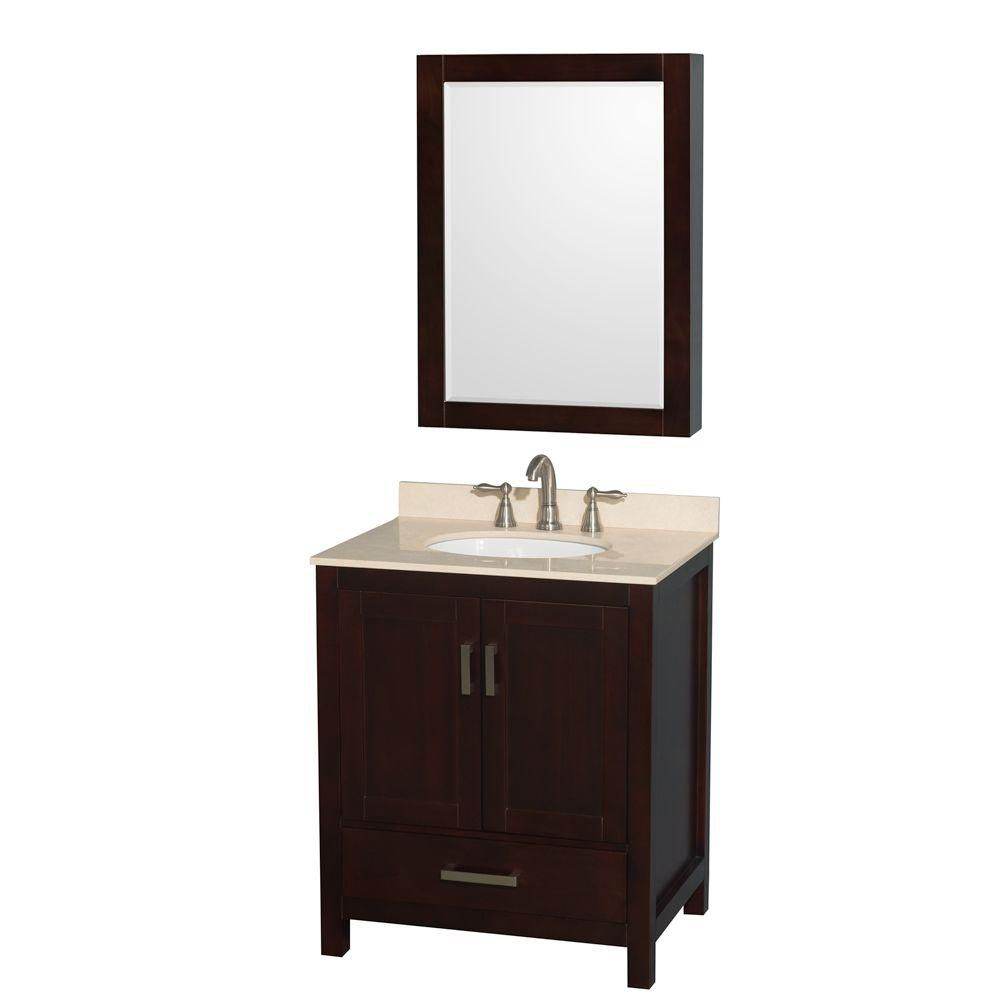 Sheffield 30-inch W Vanity in Espresso with Marble Top, Oval Sink and Medicine Cabinet