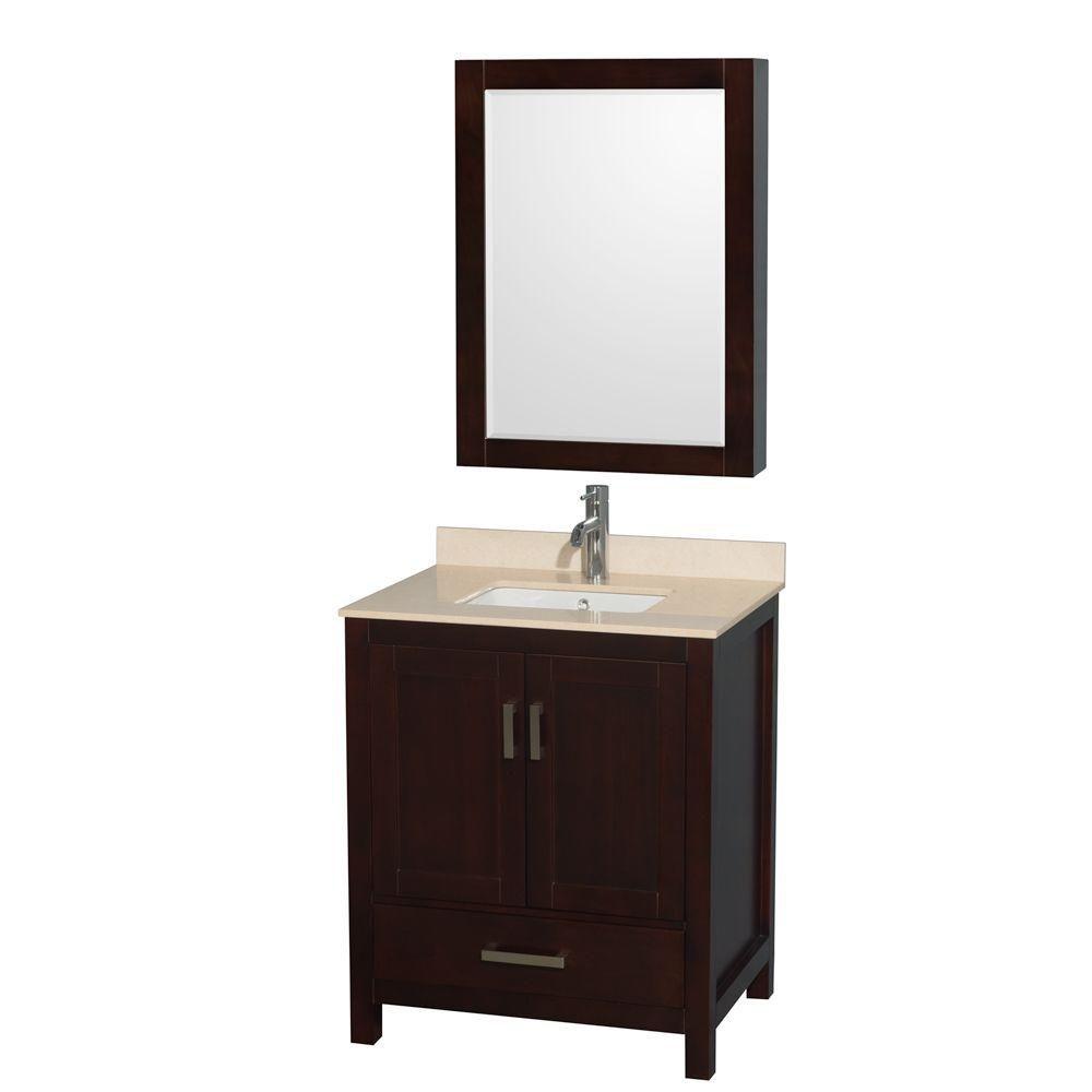 "Meuble s. bains simple Sheffield 30"" espresso, comptoir marbre ivoire, évier carré, pharmacie"