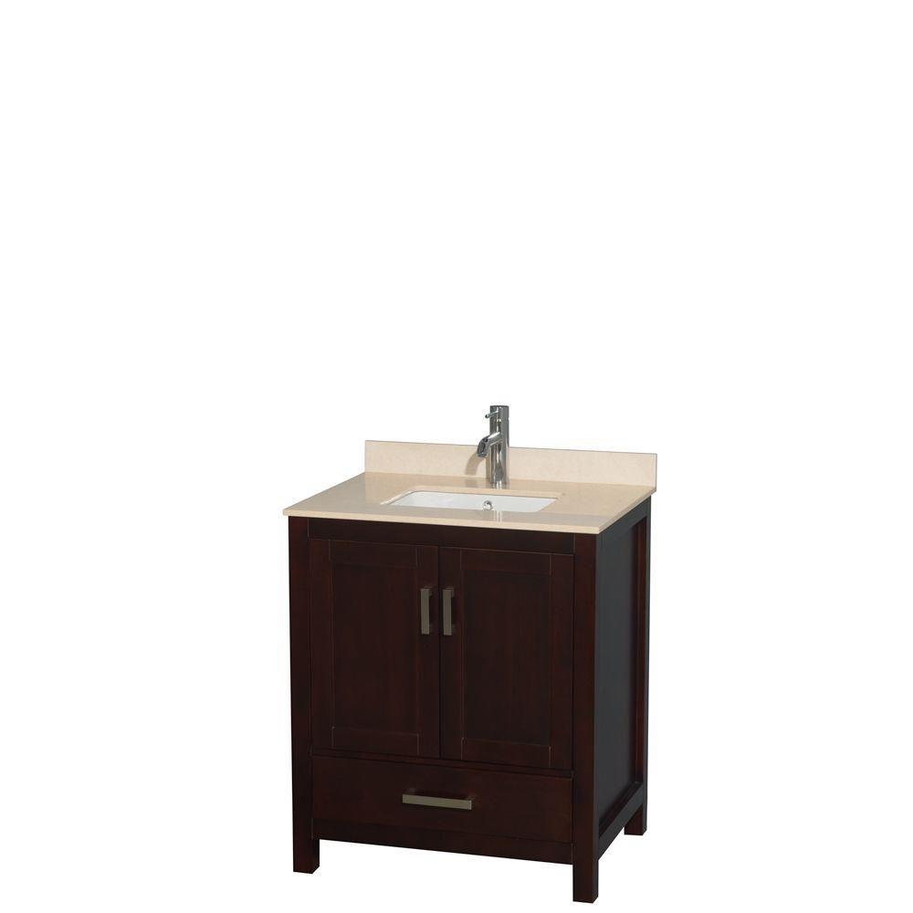 """Meuble s. bains simple Sheffield 30"""" espresso, comptoir marbre ivoire, évier carré, pas miroir"""