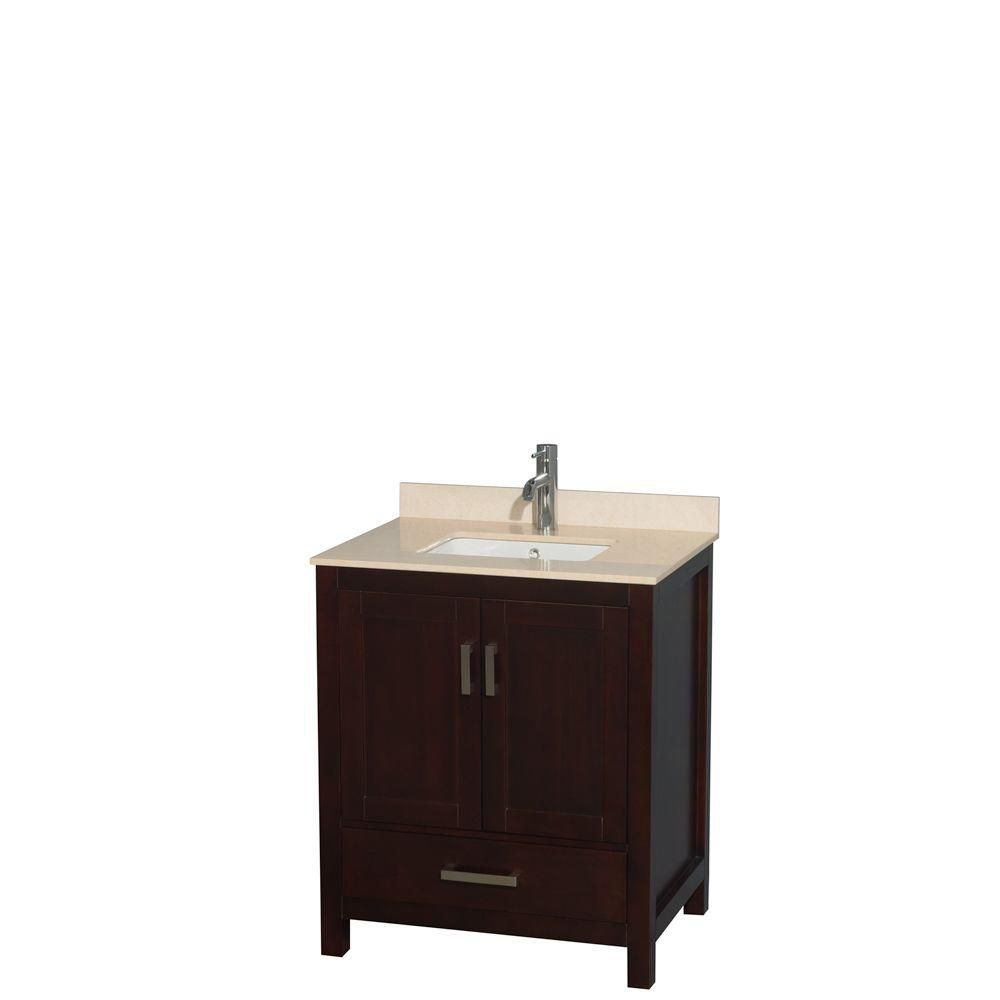 Wyndham Collection Sheffield 30-inch W 1-Drawer 2-Door Freestanding Vanity in Brown With Marble Top in Beige Tan
