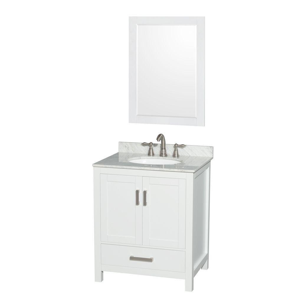 """Meuble s. bains simple blanc Sheffield 30"""", comptoir marbre Carrera blanc, évier ovale, miroir 24..."""