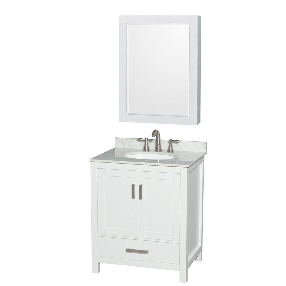 Wyndham Collection Sheffield 30-inch 1-Drawer 2-Door Freestanding Vanity in White With Marble Top in White With Mirror