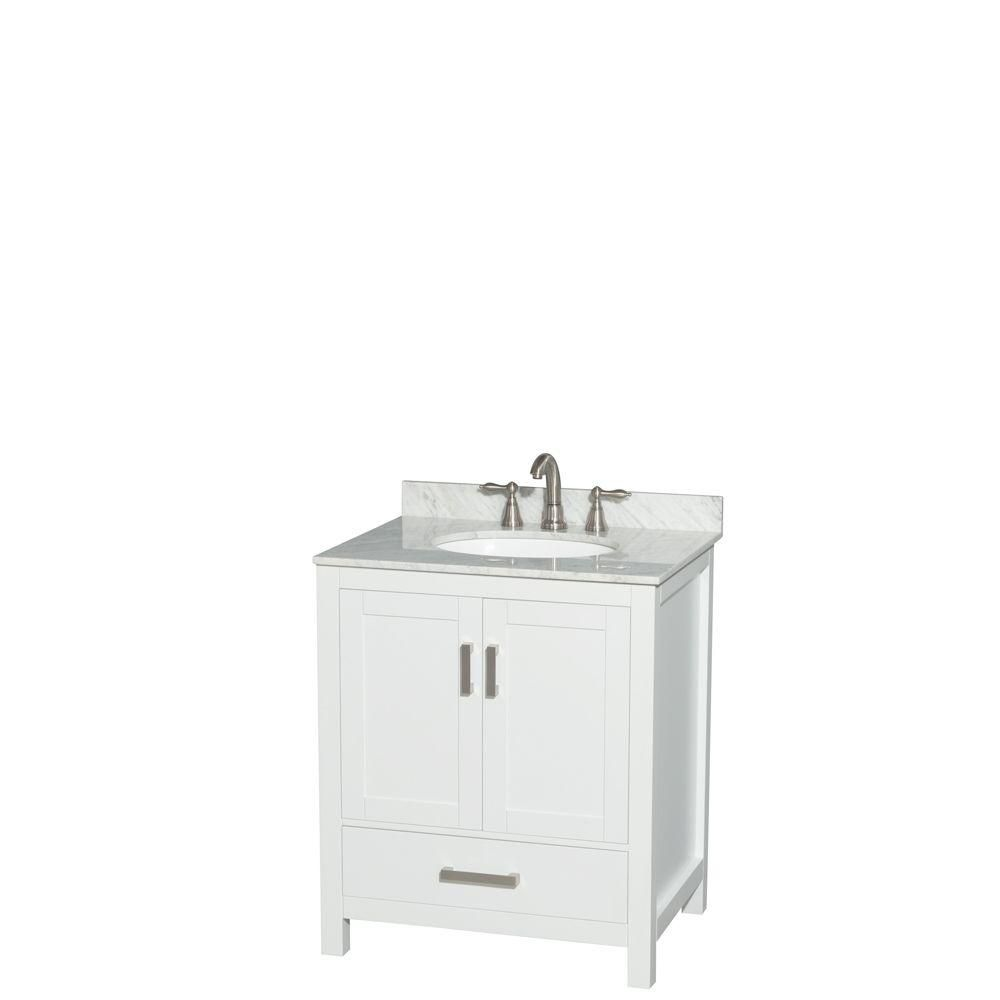 Sheffield 30-inch W Vanity in White with Marble Top in Carrara White and Oval Sink