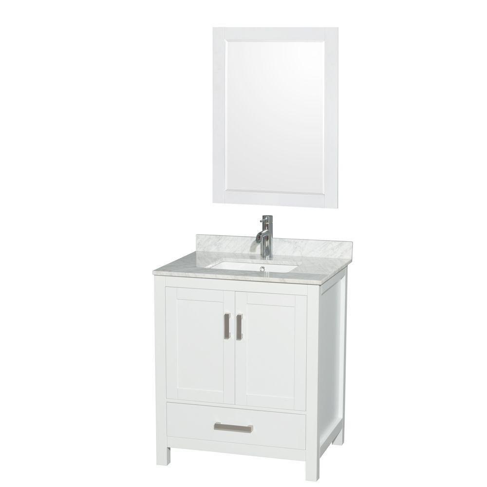 "Meuble s. bains simple blanc Sheffield 30"", comptoir marbre Carrera blanc, évier carré, miroir 24..."