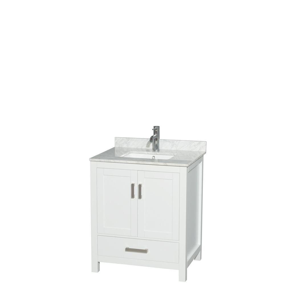 Sheffield 30-inch W Vanity in White with Marble Top in Carrara White and Square Sink