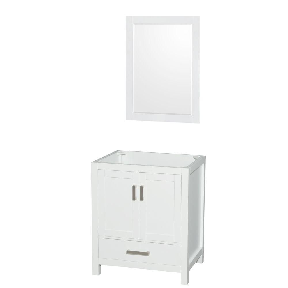 "Meuble s. bains simple Sheffield 30"" blanc, sans comptoir, sans évier, miroir 24"""
