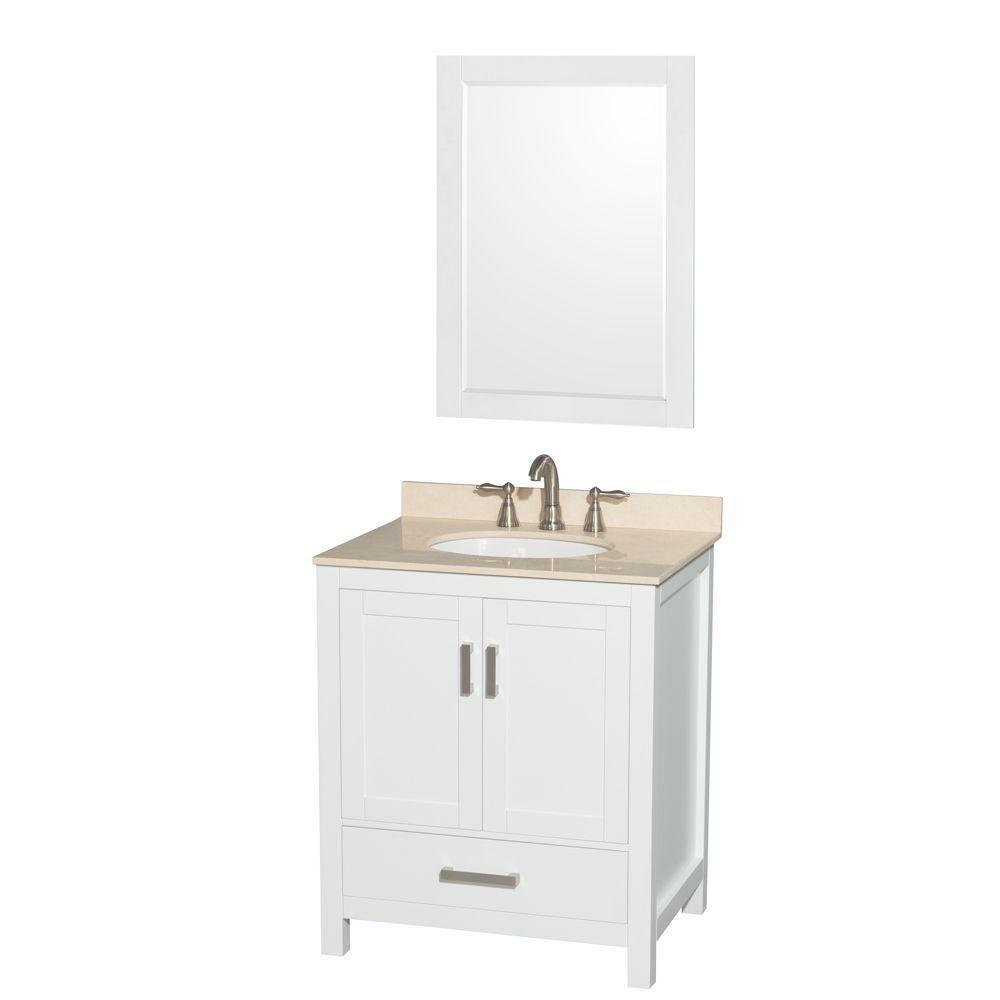 """Meuble s. bains simple Sheffield 30"""" blanc, comptoir marbre blanc, évier ovale, miroir 24"""""""